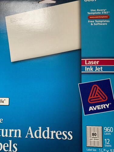 "Avery 8167//5167//8867  Return Address Shipping Labels 1//2/"" X 1 3//4/"" 960!"