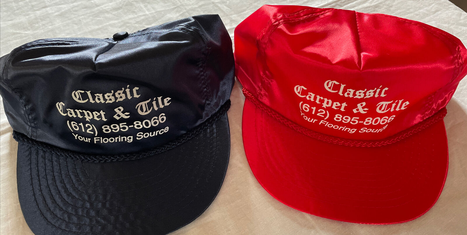 (2) Classic Carpet & Tile (MN) Trucker Strapback Satin Cap Hat - NOS!