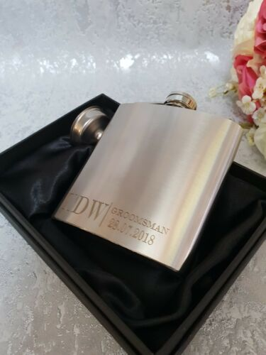 with box choice SF89 6oz Silver wedding party personalised Hip Flask