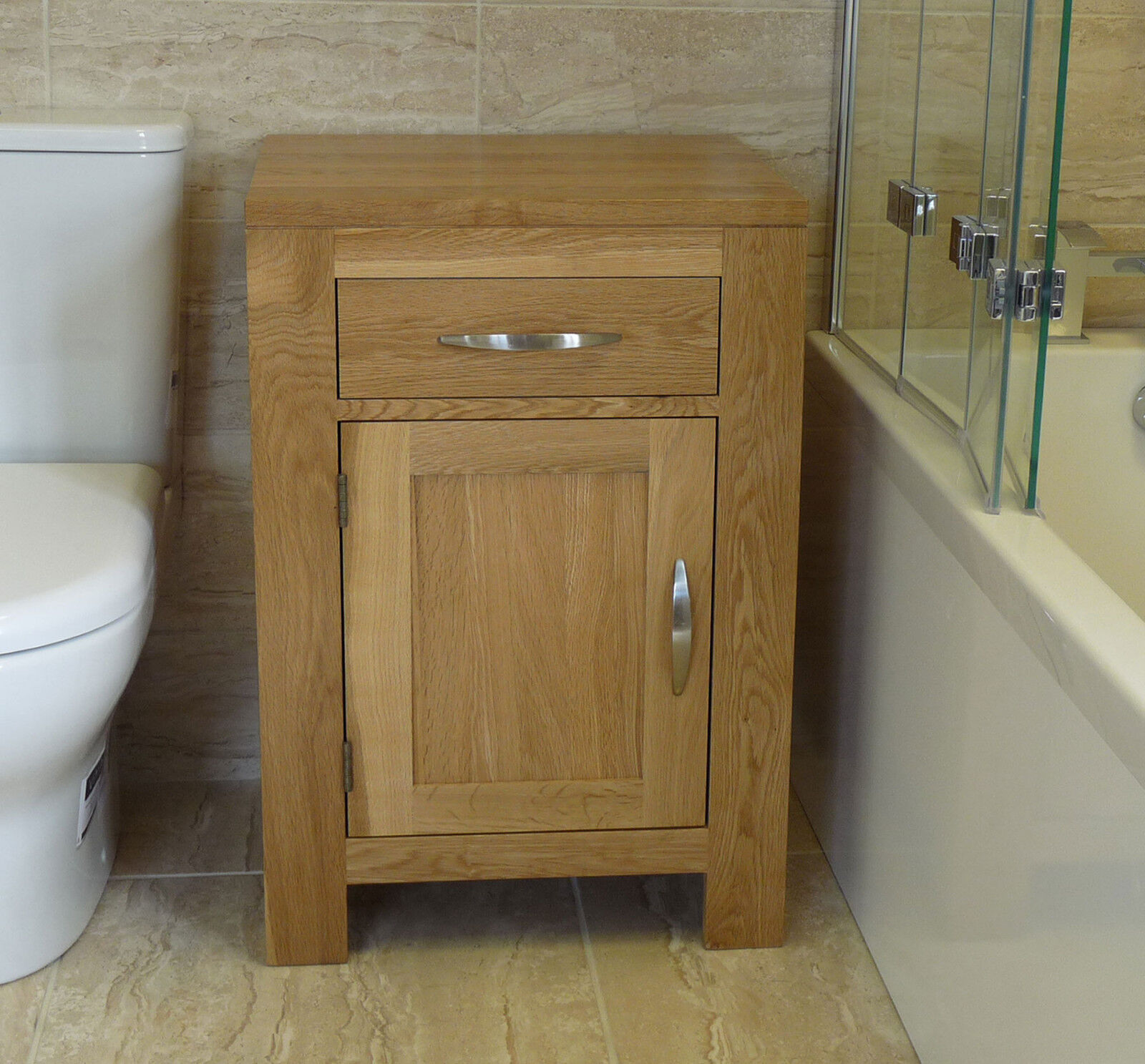 Solid oak bathroom furniture basin cabinet 60cm wide x for Bathroom cabinets 80cm wide
