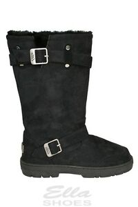 f69ec76be676 Ella Harley Black Ladies Vegan Boots 2 Buckles High Calf Fax Fur Boot
