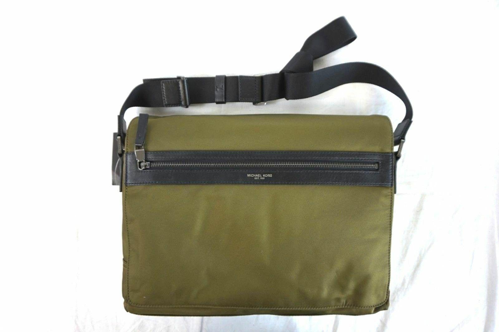 80bef62b4a91 Michael Kors Green Messenger shoulder Bag Men 100 Auth Kent Military ...