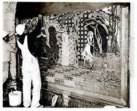 Vintage DISNEY WORLD CONSTRUCTION 8x10 PHOTO, CINDERELLA CASTLE MURAL TILE WORK