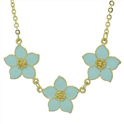Flowers Necklace Blue Floral Bridal Flower Bloom Star Gold Plated