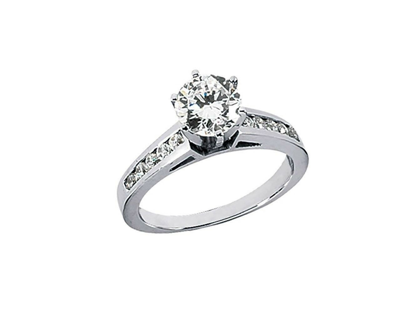 0.70Ct Round Cut Diamond Cathedral Engagement Ring Solid 14k gold IJ I1