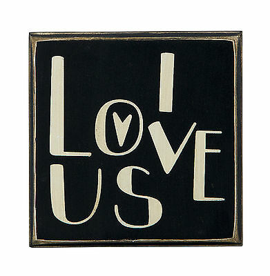 "Box Sign- For Wall,Table Wedding Decor-   ""I Love Us""-  4"" x 4"" Tall -  # 23788"