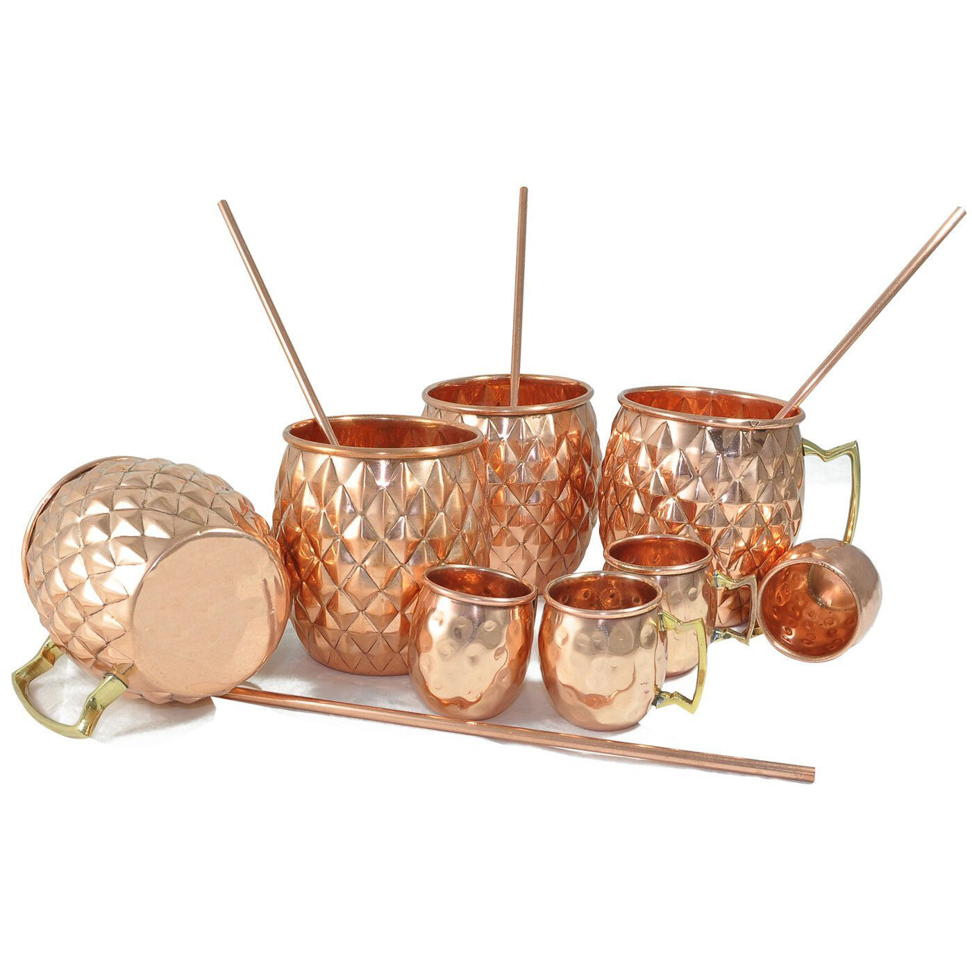 Diamond Cut Pure Copper Beer,Wine,Vodka Mug With Copper Shot Mug Copper Straw