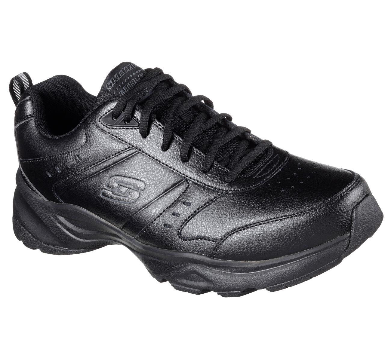 Skechers Men's 58355 BLK Haniger Leather Memory Foam Black shoes Brand New