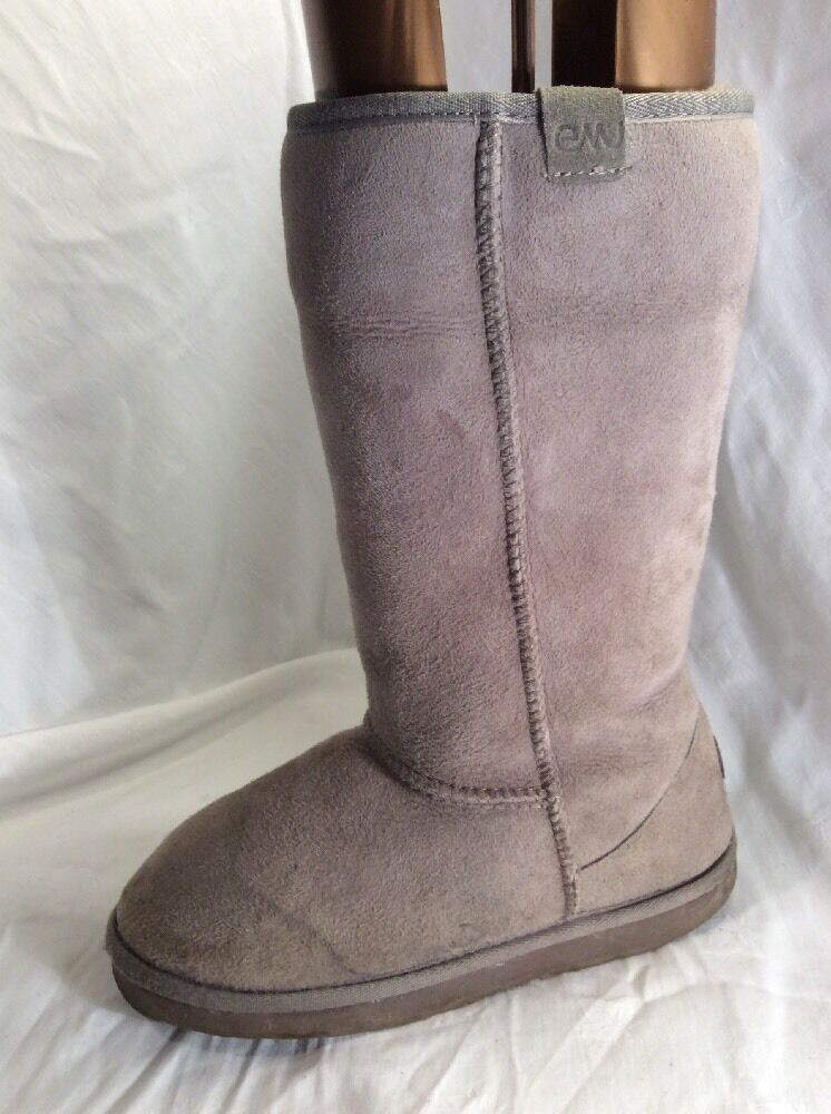 EMU LADIES GREY LEATHER SHEEPSKIN FUR LINED MID CALF BOOTS SIZE 6.5