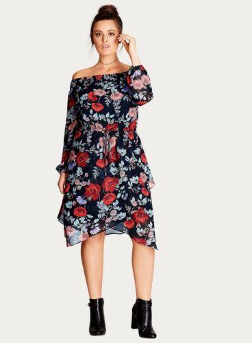 Ex EVANS City Chic Dark Multi Poppy Shift Dress RRP £80 Sizes 14 16 18 20 22