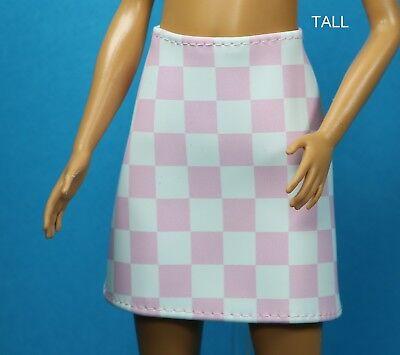MATTEL PINK PLAID SIDE SLIT SKIRT FASHIONISTAS BARBIE CLOTHES FASHION CURVY