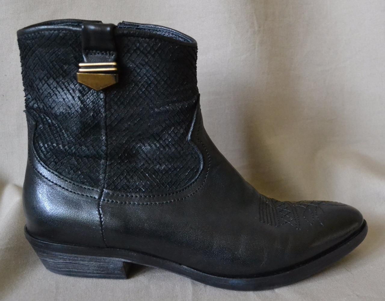 Kbr Schwarzes Leder Stiefeletten Größe 7 Leicht Sehr Leicht 7 Abgenutzt c75e4f