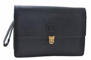 Authentic Burberrys Leather Clutch Hand Bag Black C3083