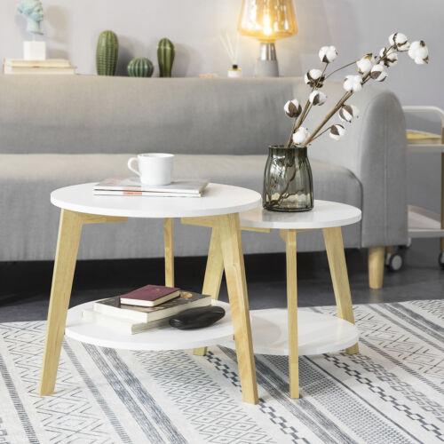 SoBuy 2er Set Beistelltisch mit runden Ablagen Couchtisch Kaffeetisch FBT75-W