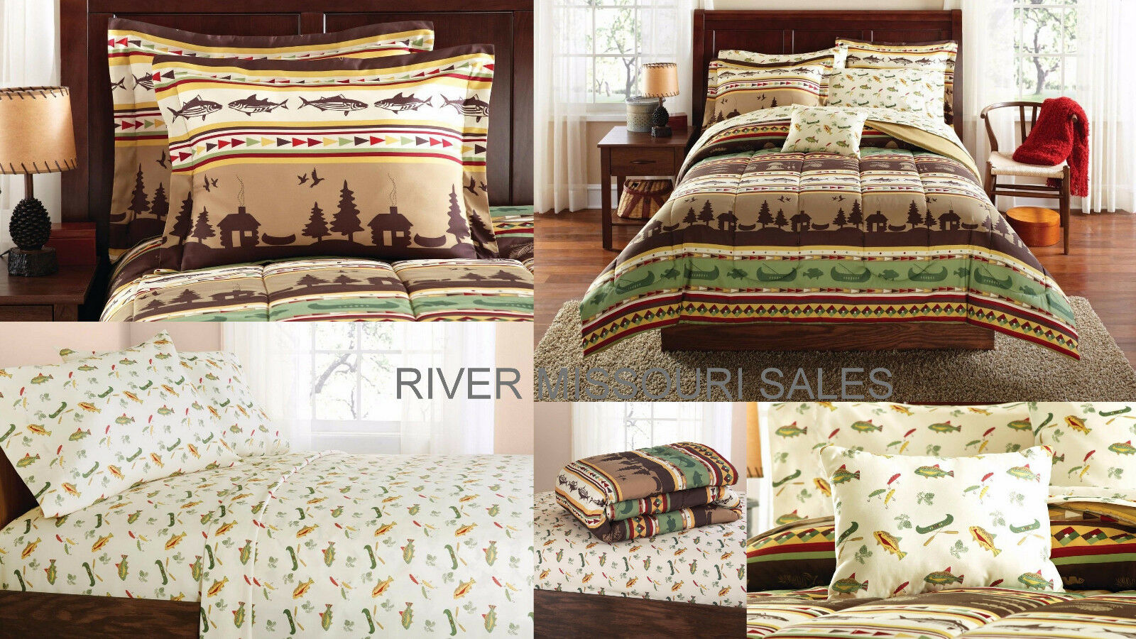 Fishing Cabin Lodge Lake 8 Piece Complete Bed In A Bag Comforter Sets,Choice-NEW