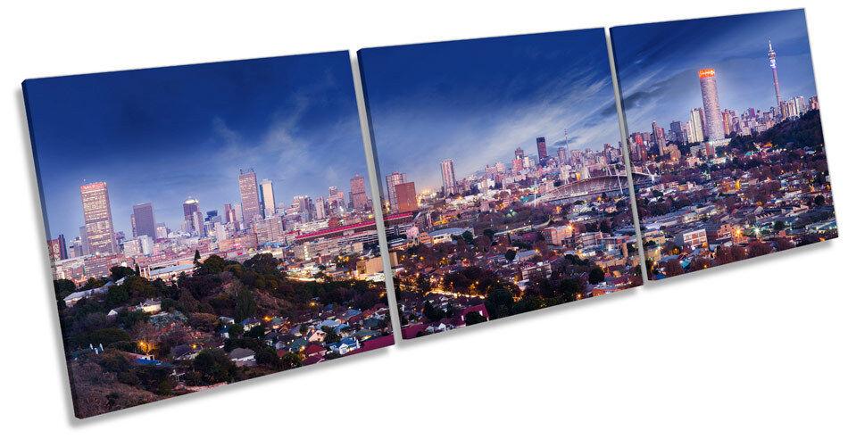 Johannesburg City Skyline South Africa TREBLE CANVAS WALL ART Box Frame Print