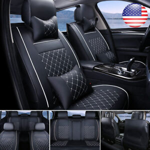 US Car PU Leather Seat Cover 5 Seats SUV Front+Rear Cushion Set W/Pillows Size L
