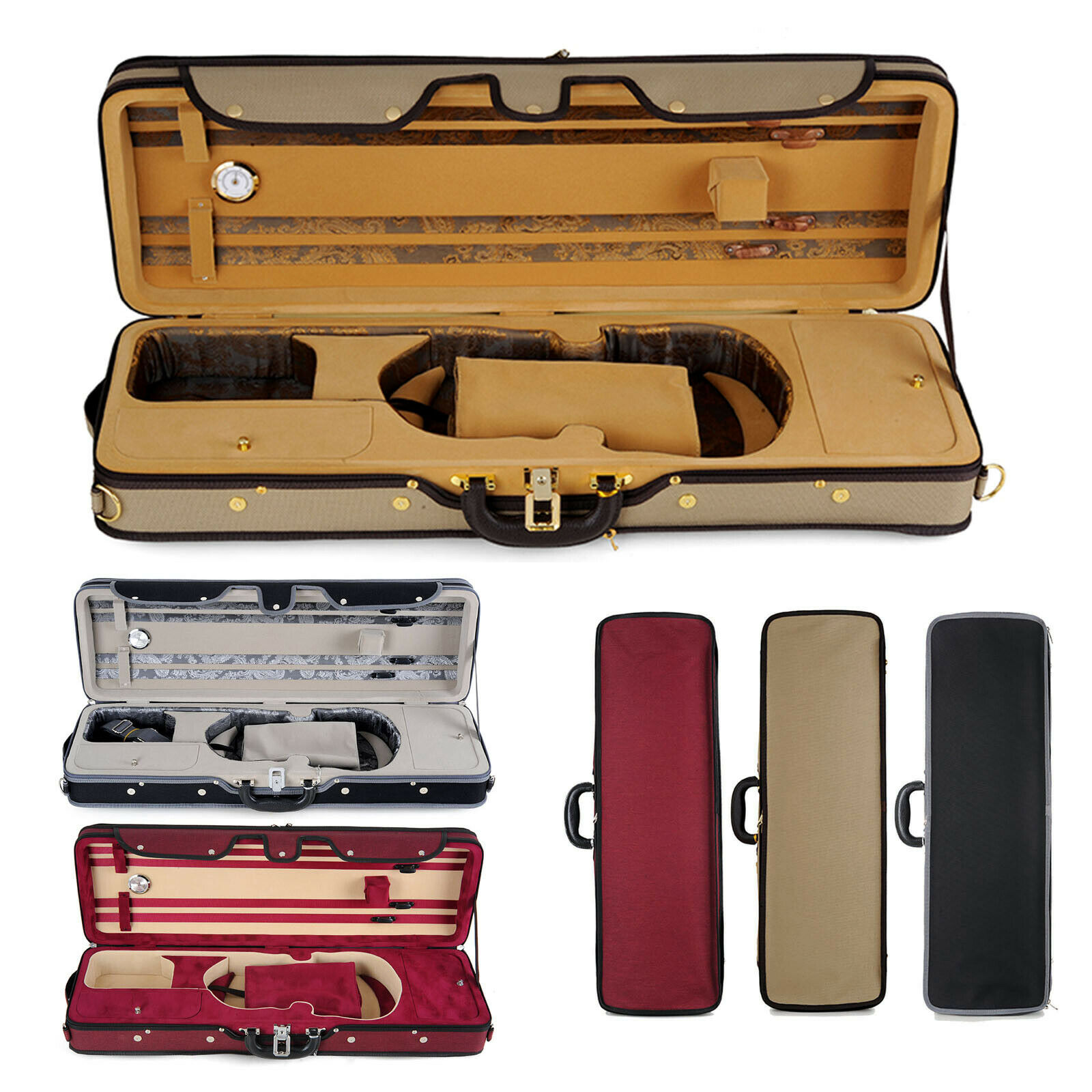 Muzip Violin Case Full storlek 4 4, Lightweight Professional Suspension Luxury Case