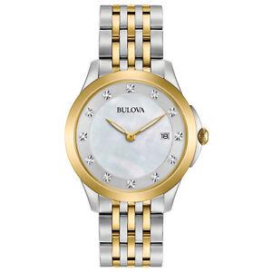 Bulova Women's Quartz Diamond Accents Two-Tone Bracelet 36mm Watch 98P161
