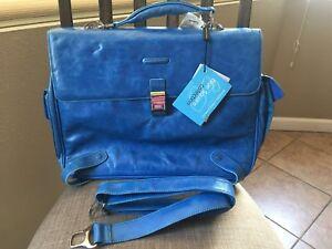 758fa1ba75e0 Image is loading PIQUADRO-Blue-Leather-Computer-portofolio-brief -Crossbody-Bag