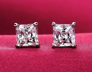 Sterling-Silver-925-Princess-Cut-Square-AAA-CZ-Stud-Earrings