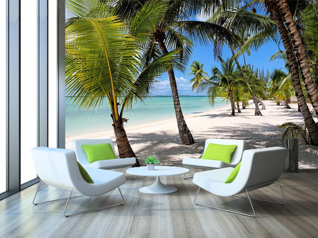 3D Beach Coconut Trees 3904 Wallpaper Decal Dercor Home Kids Nursery Mural Home