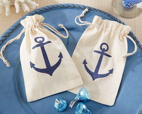 120 Voyages Anchor Muslin Favor Bag Beach Nautical Beach Theme Favor bags