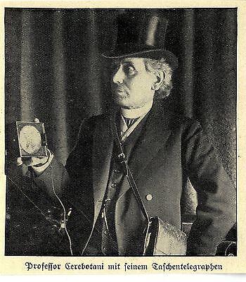 Professor Cerebotani Mit Seinem Taschentelegraphen * Bilddokument Von 1911 äRger LöSchen Und Durst LöSchen