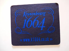 Black and Blue Beer Coaster ~*~ Kronenbourg Brewery 1664 Ale ~*~ Obernai, France