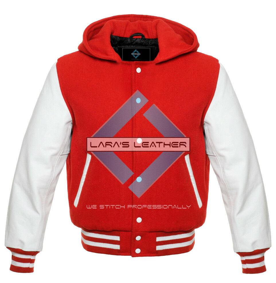 Unisex American College Coat Varsity Hoodie Wool Body/Weiß Real Leder Sleeves