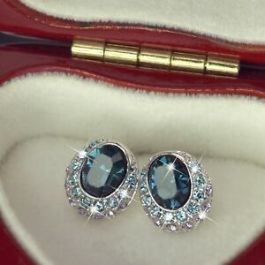 18k-white-gold-gp-made-with-SWAROVSKI-crystal-stud-earrings-oval-blue-purple