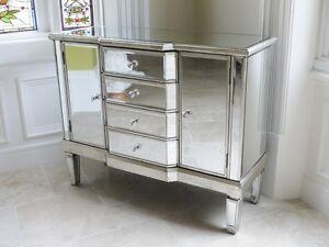 Mirrored Sideboard 2 Doors 4 Drawers Silver Storage Cabinet Side ...