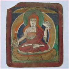 TIBET ANTIQUE TSAKLI LAMA WITH KAPALA & VASE INVOCATION ON BACK IN TIBETAN