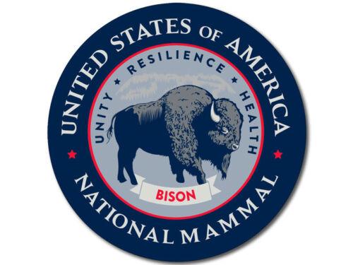 4X4 Round BISON United States America National Mammal Seal Sticker buffalo us