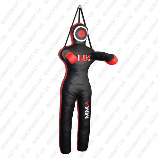 QMUK Leather MMA Grappling Dummy Fighting Position with three straps 47