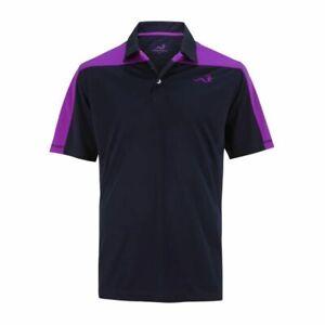 Woodworm Block Panel Golf Polo Shirt (Black / Purple)