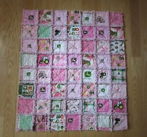 baby girl pink john deere rag quilt over 15 different jd pink fabrics 33 x 37 ebay ebay