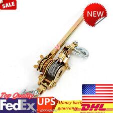 Us Double Hooks Cable Hd Hoist Ratchet 2 Ton Hand Lever Puller Come Along 4400lb