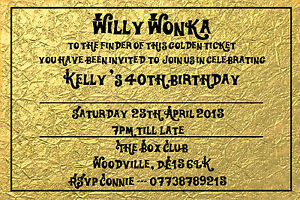 Details About Personalised Willy Wonka Golden Style Ticket Birthday Party Invites Inc Envelope