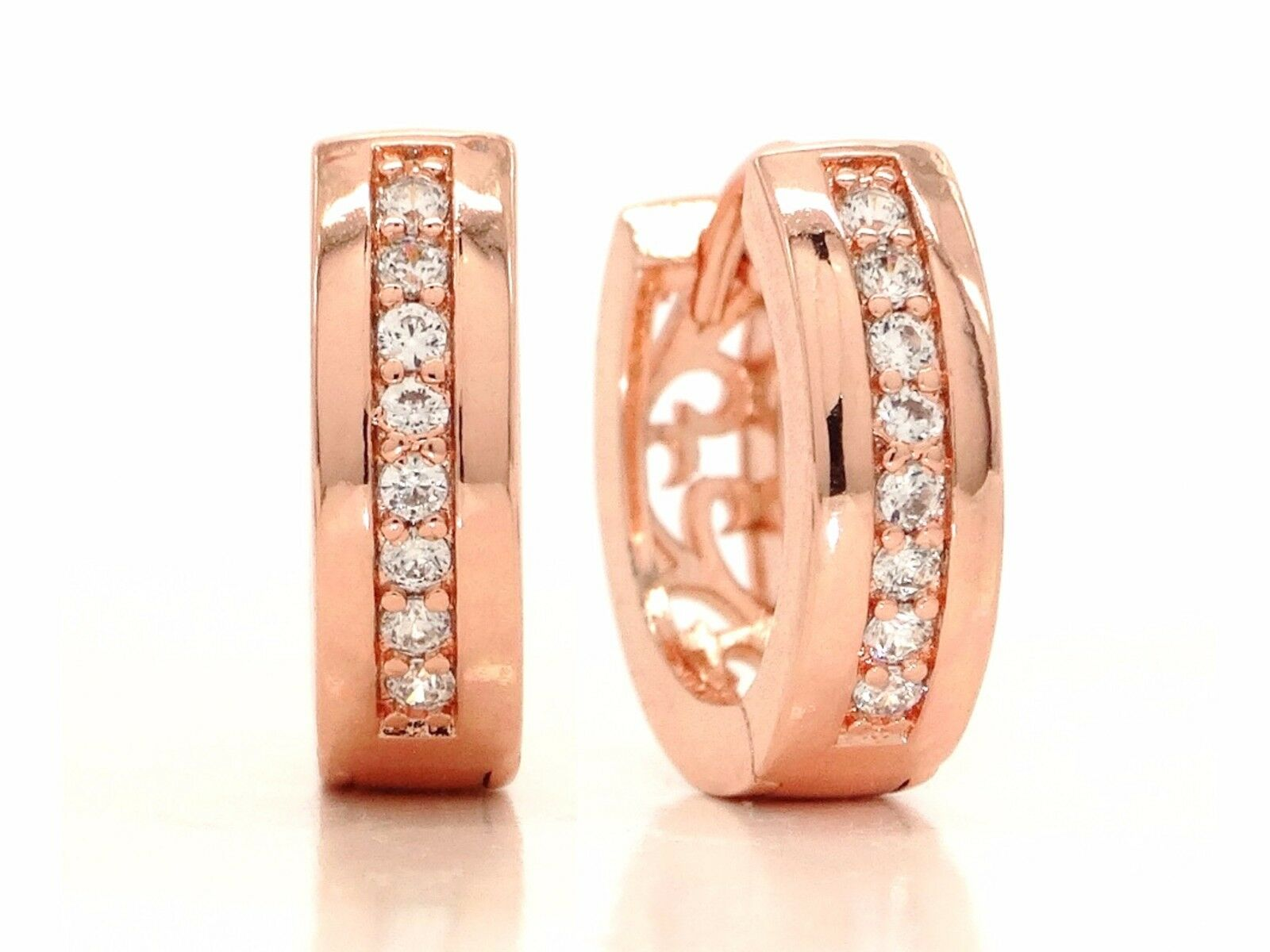 Genuine 18ct pink gold plated small hoop earrings clear white gemstones gift box