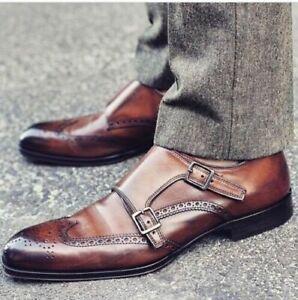 Hommes-Fait-main-Cuir-Marron-Double-moine-formel-Des-chaussures