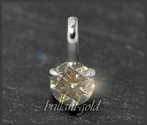 Diamant-Brillant-585-Gold-Anhaenger-0-26-ct-champagner-VS-14K-Weissgold-NEU