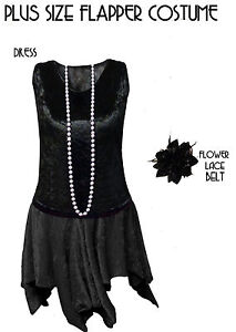 Details about Hot! Black Roaring 20\'s PLUS SIZE Flapper Dress Halloween  Costume 1x to 8x