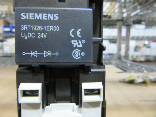 Siemens 3RT1025-1B Contactor 3P 40A Coil 24VDC with 3RT1926-1ER00 Surge Sup NEW!