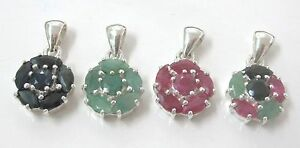 REAL925-STERLING-SILVER-Genuine-RUBY-SAPPHIRE-EMERALD-Flower-Pendant-GIRL-WOMEN