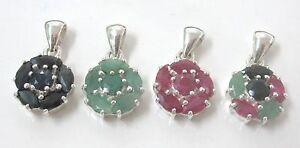 REAL925-STERLING-SILVER-Genuine-RUBY-SAPPHIRE-EMERALD-Flower-Pendant-GIRL-WOMEN