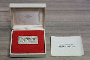 1975-Franklin-Mint-034-The-Open-Sleigh-034-Christmas-Solid-Sterling-Silver-Ingot