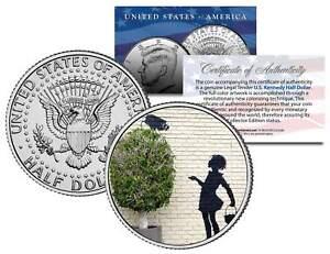 BANKSY-FLOWER-GIRL-Colorized-JFK-Half-Dollar-U-S-Coin-Art-SECURITY-CAMERA