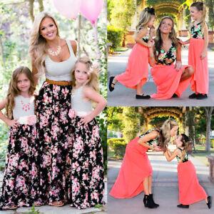 86bb84d7d Mother Daughter Summer Casual Floral Striped Long Maxi Dress ...