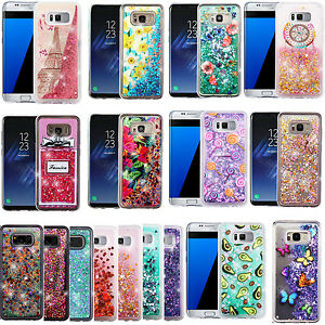 super popular dedd0 cfa54 Details about For Samsung Galaxy S8 / S8 PLUS Liquid Glitter Quicksand HARD  Case Phone Cover